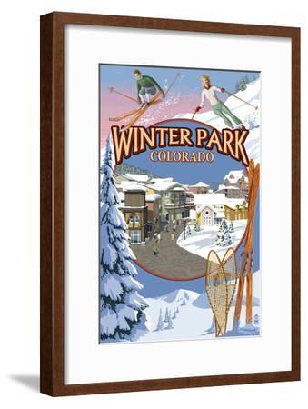 Winter Park, Colorado Montage-Lantern Press-Framed Art Print
