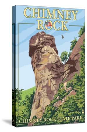 Chimney Rock State Park, North Carolina-Lantern Press-Stretched Canvas Print