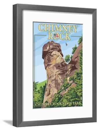 Chimney Rock State Park, North Carolina-Lantern Press-Framed Art Print