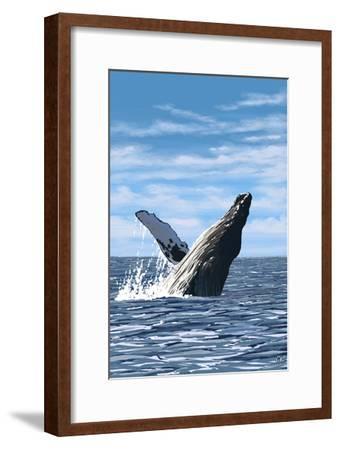 Humpback Whale - Ocean-Lantern Press-Framed Art Print