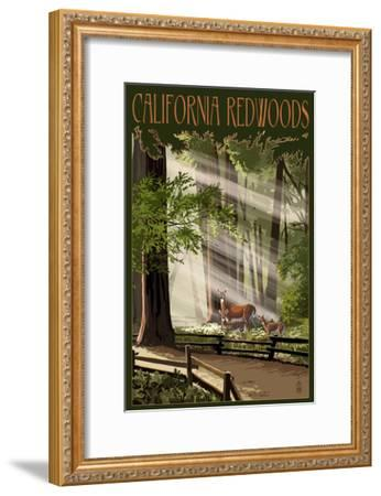 California - Deer and Fawns in Redwoods-Lantern Press-Framed Art Print