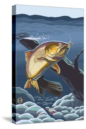 Trout Underwater-Lantern Press-Stretched Canvas Print