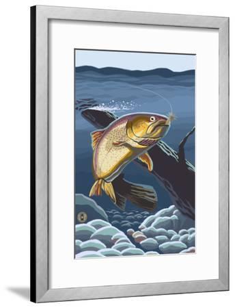 Trout Underwater-Lantern Press-Framed Art Print