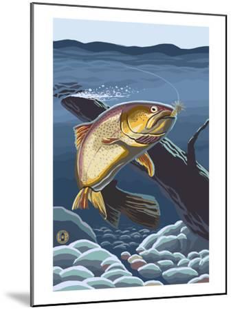 Trout Underwater-Lantern Press-Mounted Art Print