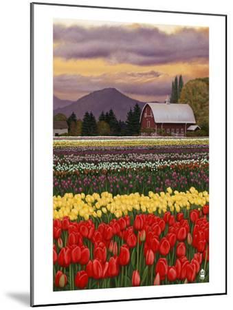 Tulip Farm-Lantern Press-Mounted Art Print