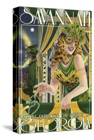 Savannah, Georgia - St. Patricks Day Parade-Lantern Press-Stretched Canvas Print
