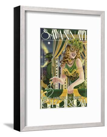 Savannah, Georgia - St. Patricks Day Parade-Lantern Press-Framed Art Print