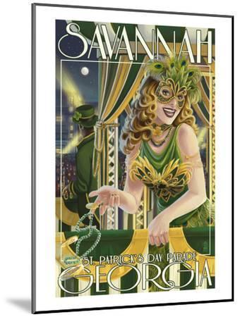 Savannah, Georgia - St. Patricks Day Parade-Lantern Press-Mounted Art Print