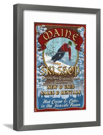 Maine Ski Shop-Lantern Press-Framed Art Print