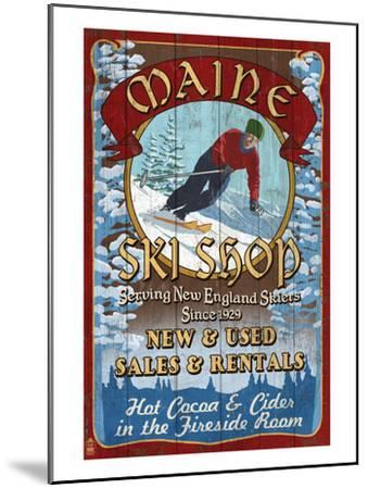 Maine Ski Shop-Lantern Press-Mounted Art Print