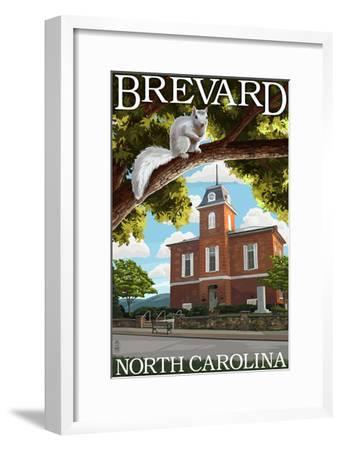 Brevard, North Carolina - Courthouse and White Squirrel-Lantern Press-Framed Art Print