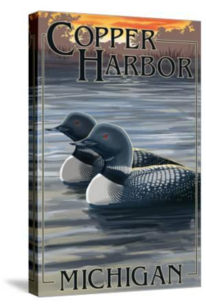 Copper Harbor, Michigan - Loon Family-Lantern Press-Stretched Canvas Print