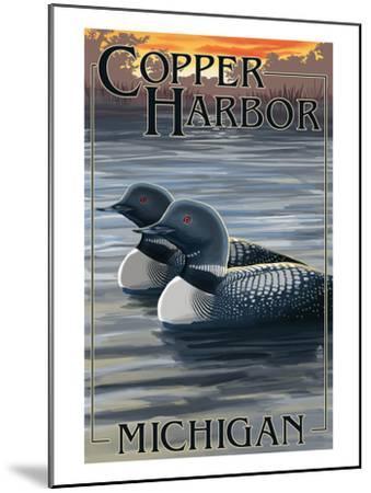 Copper Harbor, Michigan - Loon Family-Lantern Press-Mounted Art Print