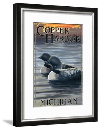 Copper Harbor, Michigan - Loon Family-Lantern Press-Framed Art Print