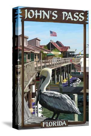 John's Pass, Florida - Pelican and Dock-Lantern Press-Stretched Canvas Print