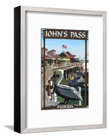 John's Pass, Florida - Pelican and Dock-Lantern Press-Framed Art Print