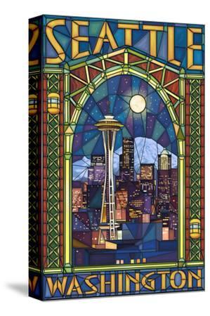 Stained Glass Window - Seattle, WA-Lantern Press-Stretched Canvas Print