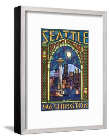 Stained Glass Window - Seattle, WA-Lantern Press-Framed Art Print