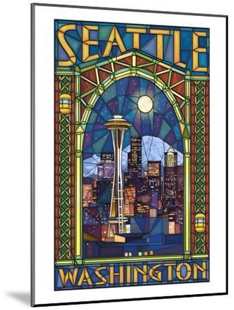 Stained Glass Window - Seattle, WA-Lantern Press-Mounted Art Print