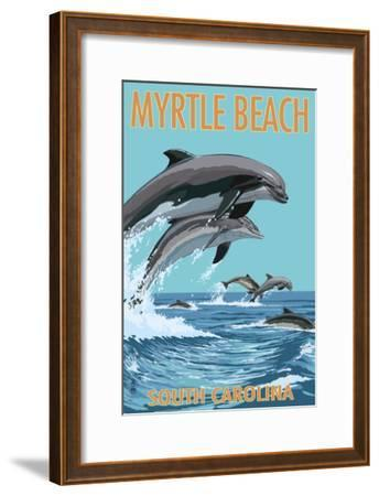 Myrtle Beach, South Carolina - Dolphins Swimming-Lantern Press-Framed Art Print