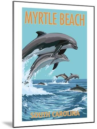Myrtle Beach, South Carolina - Dolphins Swimming-Lantern Press-Mounted Art Print
