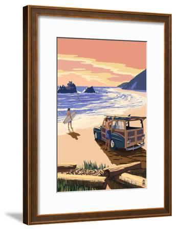 Woody on Beach-Lantern Press-Framed Art Print