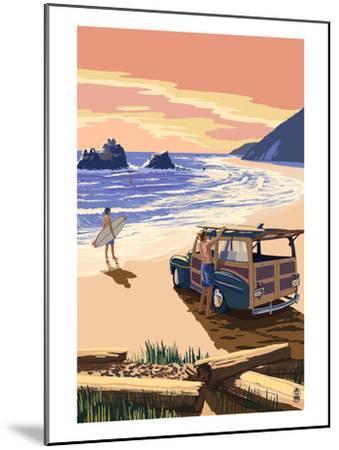 Woody on Beach-Lantern Press-Mounted Art Print