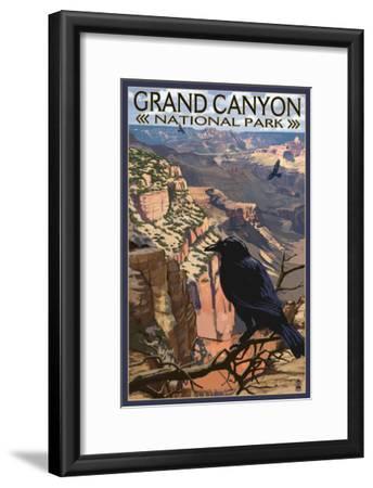 Grand Canyon National Park - Ravens at South Rim-Lantern Press-Framed Art Print