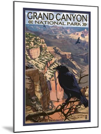 Grand Canyon National Park - Ravens at South Rim-Lantern Press-Mounted Art Print