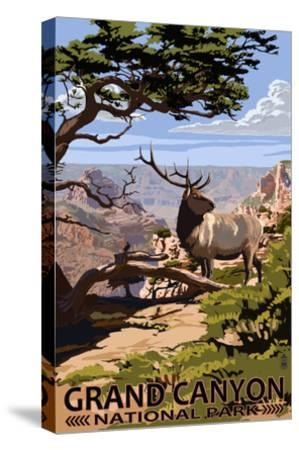 Grand Canyon National Park - Elk and South Rim-Lantern Press-Stretched Canvas Print
