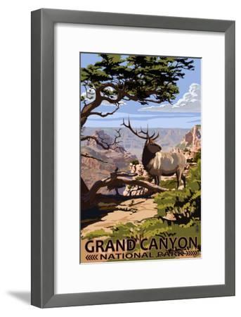 Grand Canyon National Park - Elk and South Rim-Lantern Press-Framed Art Print