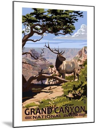 Grand Canyon National Park - Elk and South Rim-Lantern Press-Mounted Art Print