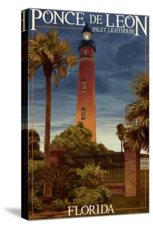 Ponce De Leon Inlet Lighthouse, Florida - Dusk Scene-Lantern Press-Stretched Canvas Print