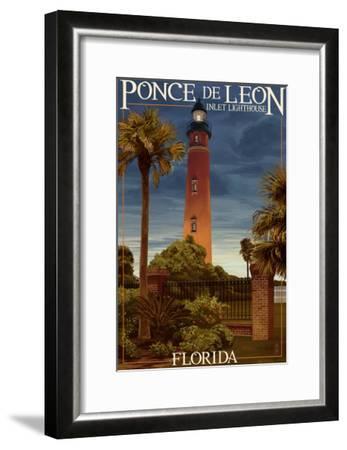 Ponce De Leon Inlet Lighthouse, Florida - Dusk Scene-Lantern Press-Framed Art Print
