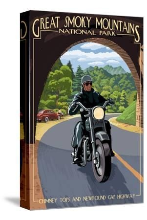 Motorcycle and Tunnel - Great Smoky Mountains National Park, TN-Lantern Press-Stretched Canvas Print