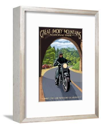 Motorcycle and Tunnel - Great Smoky Mountains National Park, TN-Lantern Press-Framed Art Print