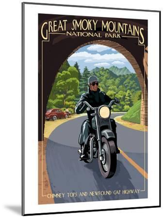 Motorcycle and Tunnel - Great Smoky Mountains National Park, TN-Lantern Press-Mounted Art Print
