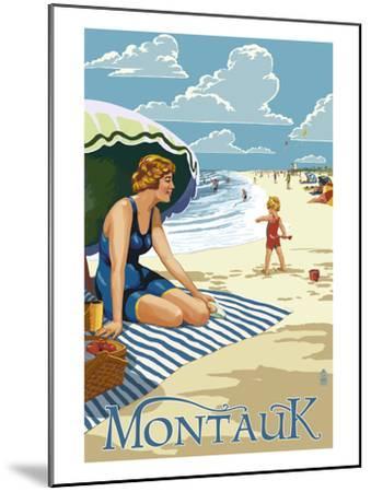 Montauk, New York - Beach Scene-Lantern Press-Mounted Art Print