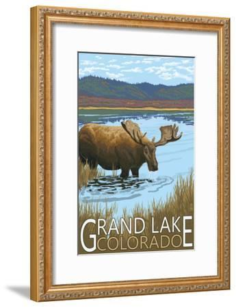 Grand Lake, Colorado - Moose and Lake-Lantern Press-Framed Art Print