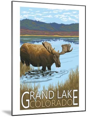 Grand Lake, Colorado - Moose and Lake-Lantern Press-Mounted Art Print