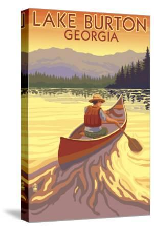 Lake Burton, Georgia - Canoe Sunset-Lantern Press-Stretched Canvas Print