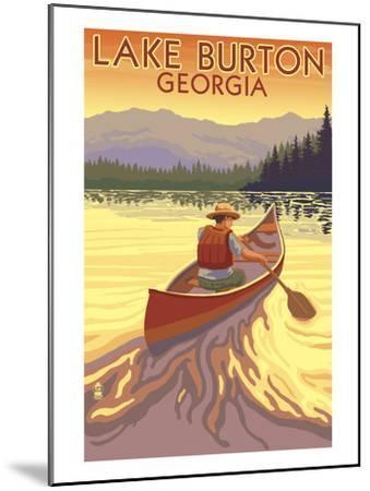 Lake Burton, Georgia - Canoe Sunset-Lantern Press-Mounted Art Print