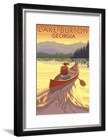 Lake Burton, Georgia - Canoe Sunset-Lantern Press-Framed Art Print