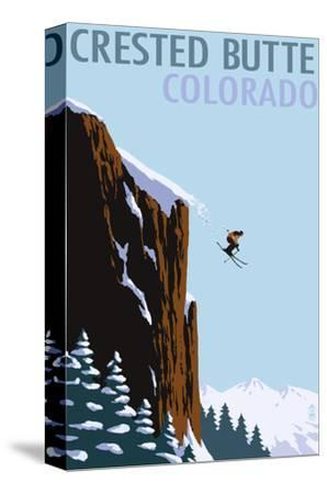 Crested Butte, Colorado - Skier Jumping-Lantern Press-Stretched Canvas Print