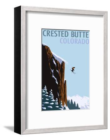 Crested Butte, Colorado - Skier Jumping-Lantern Press-Framed Art Print
