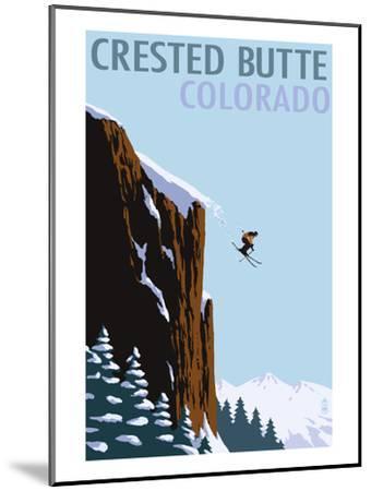 Crested Butte, Colorado - Skier Jumping-Lantern Press-Mounted Art Print