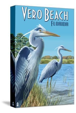 Blue Heron - Vero Beach, Florida-Lantern Press-Stretched Canvas Print