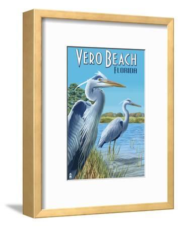 Blue Heron - Vero Beach, Florida-Lantern Press-Framed Art Print