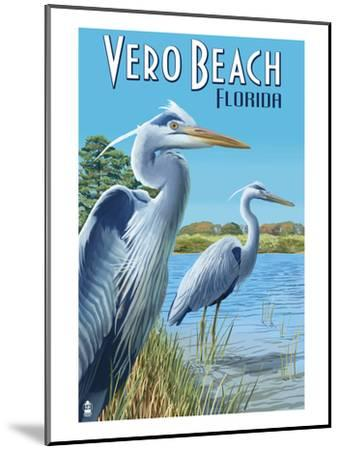 Blue Heron - Vero Beach, Florida-Lantern Press-Mounted Art Print