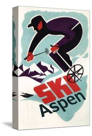 Ski in Colorado Vintage Skier - Aspen, Colorado-Lantern Press-Stretched Canvas Print